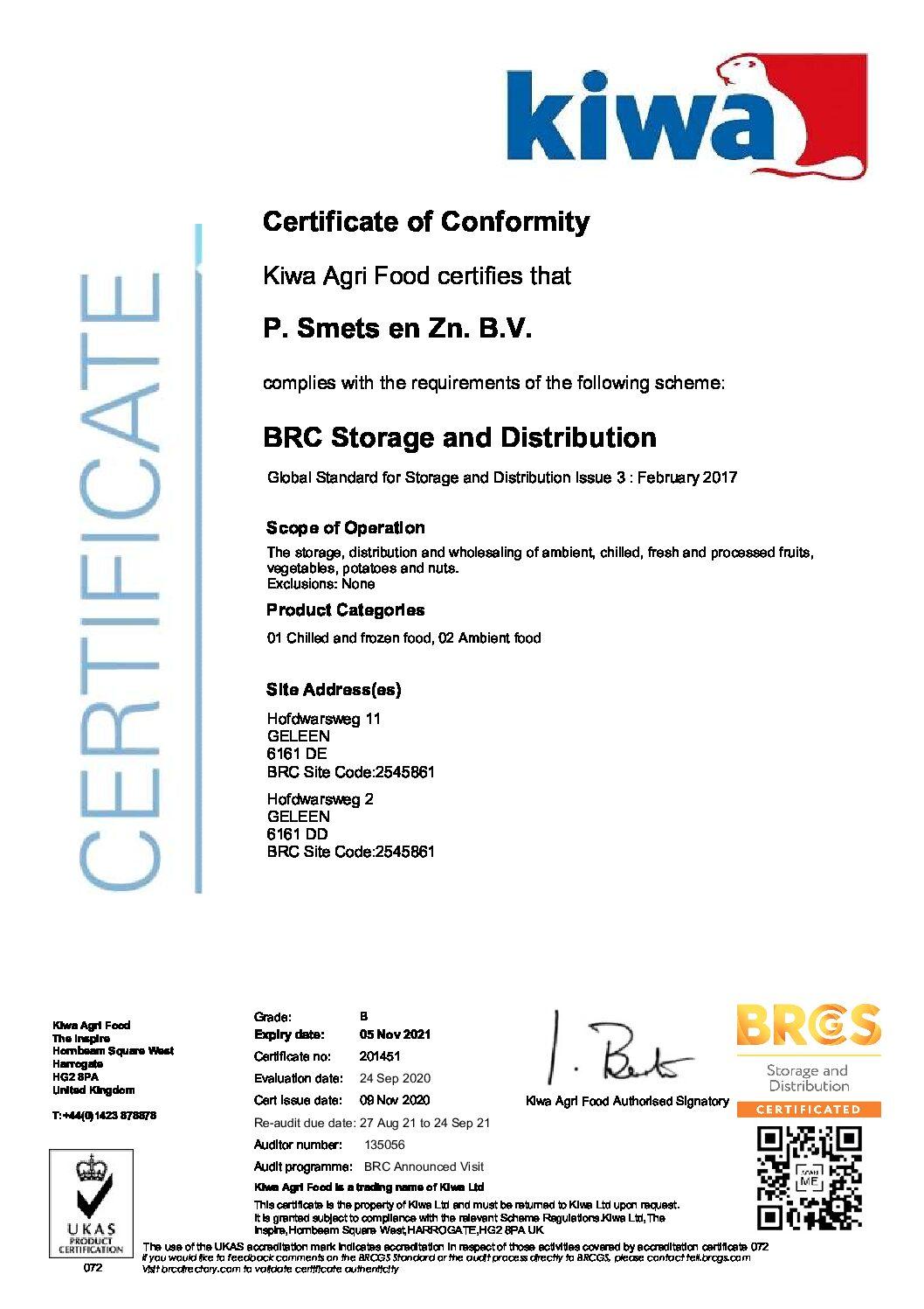 P. Smets en Zn. B.V. BRC Storage and Distribution Certificate 2020